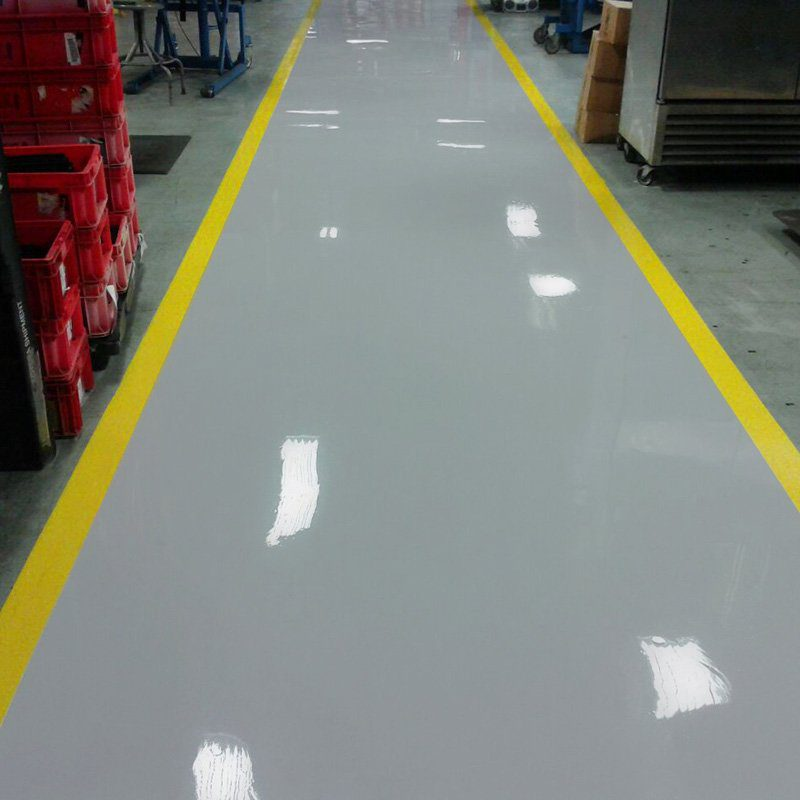 Industrial Epoxy Walkway with Safety Yellow Lines